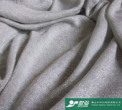 rayon knit fabric with silver metallic yarn fabric 130g/m2