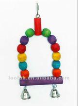 high quality wooen beads parrot swing