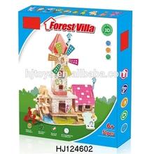 Educational DIY 3D Puzzles Toys Wooden Forest Villa, DIY 3D Puzzles Game Toys