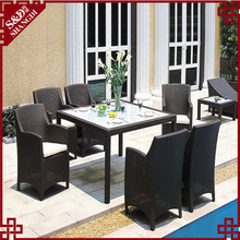 S&D Luxury home dining table set,european classical dining table and chair,rattan dinner table