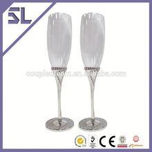 logo printed stemware champagne flute glass plastic champagne glasses