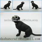 2014 Blackdog set fashionable handsome glasses wearing black resin pet dog /animal figurine