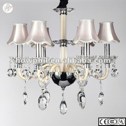 Fabric shade crystal glass chandelier MD71111-6