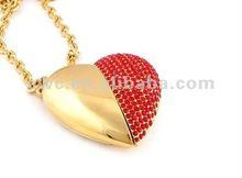 New Gift Heart Shape Jewelry Diamond Usb Flash Drive