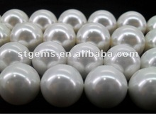 2012 Best sale grade aaa 10mm perfect round shape polish face white shell loose pearl gemstone rough