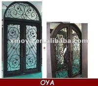 Iron entry grill door panel design steel glass inserts vent door