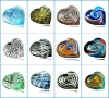 Unique Italian murano art glass hearted paperweights