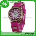 diseño de moda de promoción de silicona reloj de diamantes