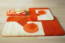 2PCS washable Jacquard acrylic bath mats, orange house design cheap bath rug