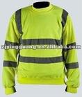Hi-vis Hooded Sweatshirt with Reflective Strip in 100% Polyester Microfiber Fleece
