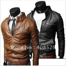 2014 New Design High Quality Mens Slim fit Zipper Designed PU Leather jacket for men Coat 7717