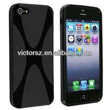 Black X-Style TPU Soft Rubber Gel Bumper Matte case for iPhone 5