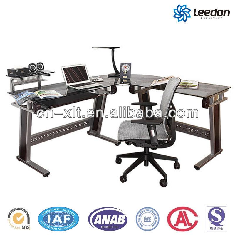 Leedon ld-514 l em forma de vidro mesa do computador