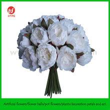 White Big Silk Peony Wedding Bouquet x 24