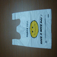 Cute smiling face plastic t-shirt bag for supermarket packaging