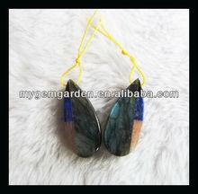 Labradorite Sunstone Lapis Lazuri Obsidian Intarsia kundan jhumka earrings