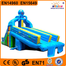 Slip and slide pool, water slide, run and splash double lane totter