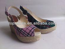 2014 fashion sandal Hemp rope wedges sandals