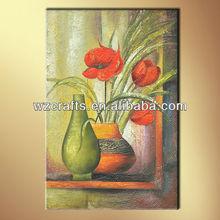 Handmade Textured Pot Plant Oil Painting