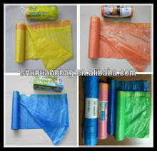 Plastic HDPE Garbage bag in roll with colorful drawstring