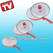Popular & green life aluminum non-stick fry pan set 3pcs ceramic pan