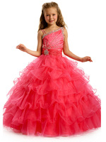 Hot Long Wool warm Red high quality Layered Girls' baby frock design
