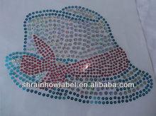 hat pattern rhinestone hot fix motif