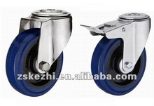 KMxx7-D kezhi bolt hole brake type blue rubber caster wheel