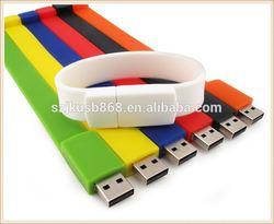 Bracelet bulk 1GB USB flash drives,Colorful waterproof USB bracelet,promotional waterproof wristband USB flash stick