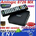 xbmc amlogic 8726 a9 çift çekirdekli mx smartphone akıllı tv kutusu set üstü kutusu em6