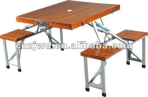 Plegable portabe de madera mesa de camping con 4 asientos - Mesa plegable con sillas dentro ...
