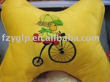 Embroidered plush children pillows , custom plush soft cushion