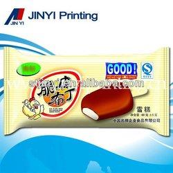 Heat sealing laminated plastic film popsicle packaging