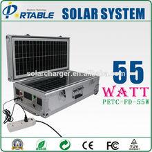 AC&DC solar kit complete 55W mobile home solar panel system for lights, fans, tvs, laptop, phones