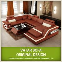 VATAR original design nova red corner leather sofa H2206