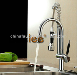Solid Brass Spring Pull Out Kitchen Faucet - Brushed Finish