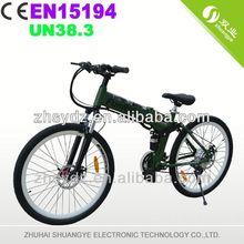 Shuangye 2013 new design green wheels electric bike