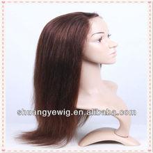 100 human tied #3 silk straight European hair wig