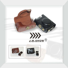 Black Coffee PU Leather Camera Bag for Olympus XZ-10 with Shoulder-strap