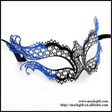 Wholesale Sparkly Crystals Wholesale Black Venetian Metal Masquerade Masks Design Blue Glitter Party Masks MB004-BBK