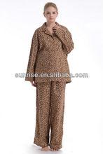 women's leopard printed cotton flannel sexy winter pajamas