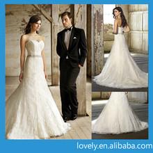 tropical captivating women wedding dress with beading sash