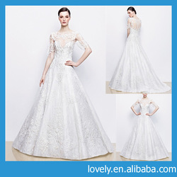 maternity lace short sleeve bridal gown