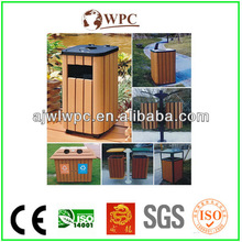 hot selling eco-friendly decorate outdoor trash bin plastic composite wood dustbin