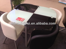 China modern latest designs luxury long tempered glass top and stainless steel tube dining tables and chairs