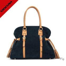 Fashion designer bag with tassel / real nubuck suede tote bag / elegence lady bag