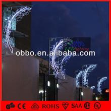 White Moon shaped lighting outdoor street led decorative light pole
