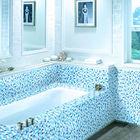 LJ JY-SW-04 Hot Sale Backsplash Tiles Wholesale Cheap Blue Glass Mosaic Indian Bathroom Tiles Lowes Shower Tile