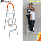 Foldable lightweight household aluminium step ladder with 4 steps
