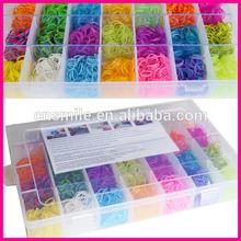 2014 Crazy cheap diy elastic 2100 pcs colorful Rubber Loom Bands